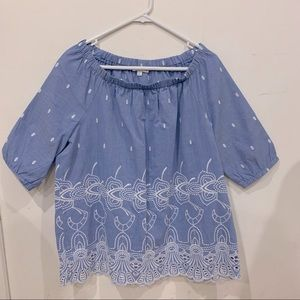 W LANE blue chambray cotton embroidered off shoulder top Size 14 NEW